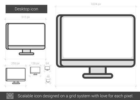 scalable: Desktop vector line icon isolated on white background. Desktop line icon for infographic, website or app. Scalable icon designed on a grid system.