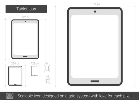 Tablet vector line icon isolated on white background. Tablet line icon for infographic, website or app. Scalable icon designed on a grid system.
