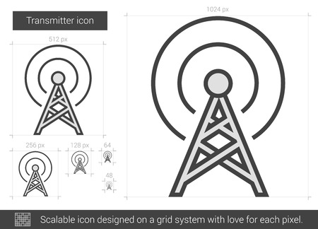 satellite transmitter: Transmitter vector line icon isolated on white background. Transmitter line icon for infographic, website or app. Scalable icon designed on a grid system.
