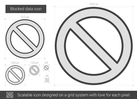 allowed to enter: Blocked data vector line icon isolated on white background. Blocked data line icon for infographic, website or app. Scalable icon designed on a grid system.