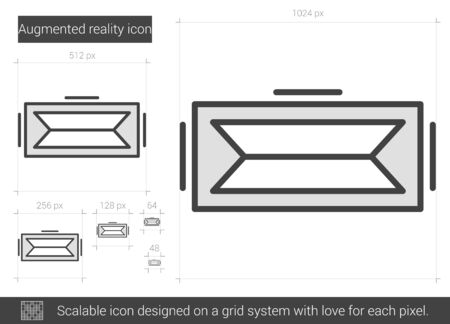 scalable: Augmented reality vector line icon isolated on white background. Augmented reality line icon for infographic, website or app. Scalable icon designed on a grid system. Illustration