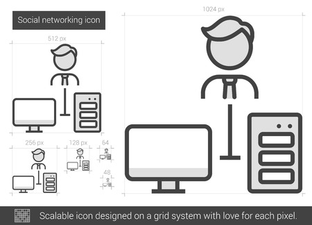 scalable: Social networking vector line icon isolated on white background. Social networking line icon for infographic, website or app. Scalable icon designed on a grid system.