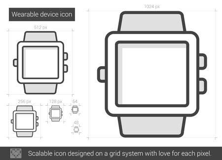scalable: Wearable device vector line icon isolated on white background. Wearable device line icon for infographic, website or app. Scalable icon designed on a grid system.