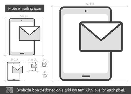 mailing: Mobile mailing vector line icon isolated on white background. Mobile mailing line icon for infographic, website or app. Scalable icon designed on a grid system.