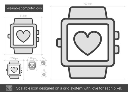 scalable: Wearable computer vector line icon isolated on white background. Wearable computer line icon for infographic, website or app. Scalable icon designed on a grid system.