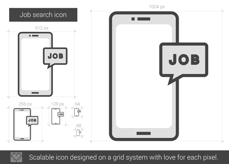 recieve: Job search vector line icon isolated on white background. Job search line icon for infographic, website or app. Scalable icon designed on a grid system. Illustration