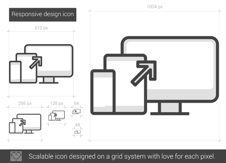 responsive design: Responsive design vector line icon isolated on white background. Responsive design line icon for infographic, website or app. Scalable icon designed on a grid system.