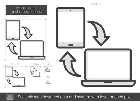 data synchronization: Mobile data synchronization vector line icon isolated on white background. Mobile data synchronization line icon for infographic, website or app. Scalable icon designed on a grid system. Illustration