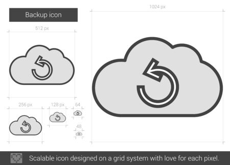 synchronizing: Backup vector line icon isolated on white background. Backup line icon for infographic, website or app. Scalable icon designed on a grid system.