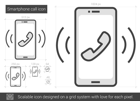 vibrating: Smartphone vector line icon isolated on white background. Smartphone line icon for infographic, website or app. Scalable icon designed on a grid system.