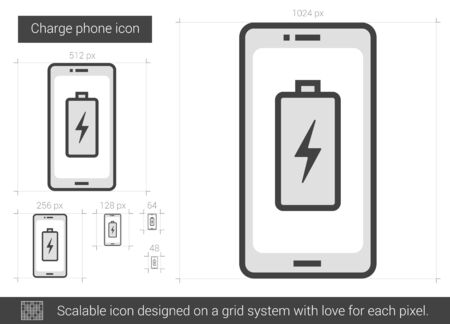 cellphone icon: Charge phone vector line icon isolated on white background. Charge phone line icon for infographic, website or app. Scalable icon designed on a grid system.