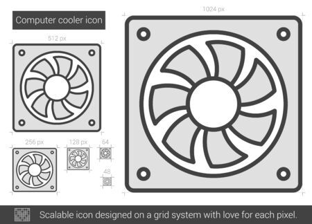 scalable: Computer cooler vector line icon isolated on white background. Computer cooler line icon for infographic, website or app. Scalable icon designed on a grid system. Illustration