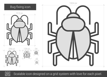 fixing: Bug fixing vector line icon isolated on white background. Bug fixing line icon for infographic, website or app. Scalable icon designed on a grid system.