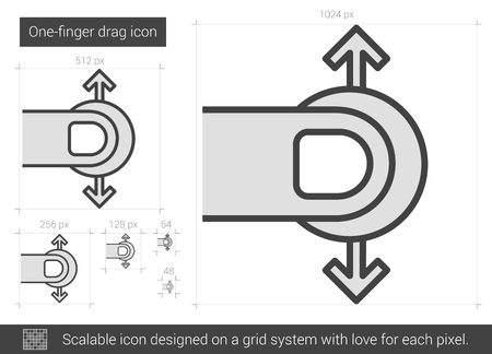 drag: One-finger drag vector line icon isolated on white background. One-finger drag line icon for infographic, website or app. Scalable icon designed on a grid system.