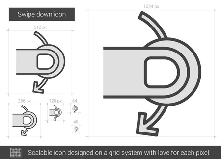 swipe: Swipe down vector line icon isolated on white background. Swipe down line icon for infographic, website or app. Scalable icon designed on a grid system. Illustration
