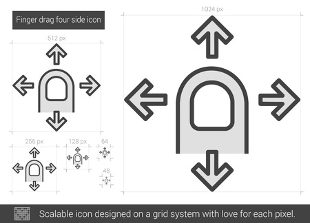 drag: Finger drag four side vector line icon isolated on white background. Finger drag four side line icon for infographic, website or app. Scalable icon designed on a grid system. Illustration
