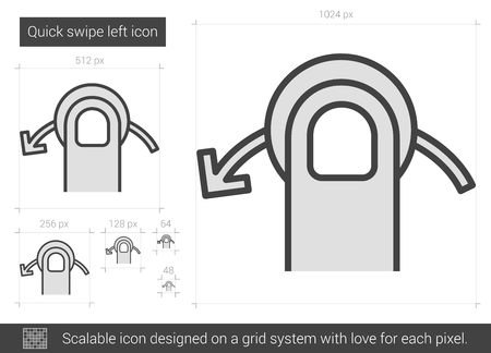 swipe: Quick swipe left vector line icon isolated on white background. Quick swipe left line icon for infographic, website or app. Scalable icon designed on a grid system. Illustration