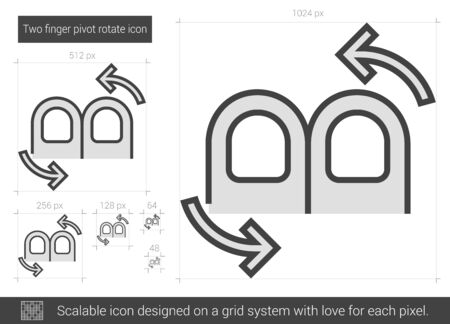 two finger: Two finger pivot rotate vector line icon isolated on white background. Two finger pivot rotate line icon for infographic, website or app. Scalable icon designed on a grid system.