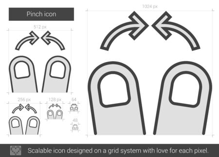 pinch: Pinch vector line icon isolated on white background. Pinch line icon for infographic, website or app. Scalable icon designed on a grid system.