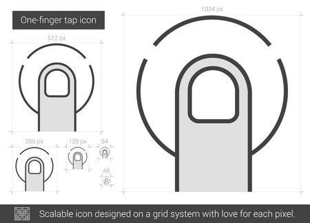 forefinger: One-finger tap vector line icon isolated on white background. One-finger tap line icon for infographic, website or app. Scalable icon designed on a grid system. Illustration