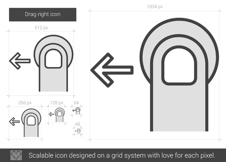 drag: Drag left vector line icon isolated on white background. Drag left line icon for infographic, website or app. Scalable icon designed on a grid system.