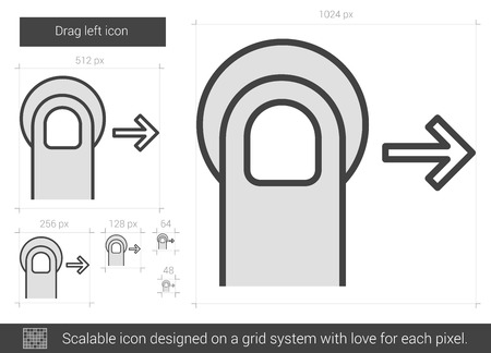 drag: Drag right vector line icon isolated on white background. Drag right line icon for infographic, website or app. Scalable icon designed on a grid system.