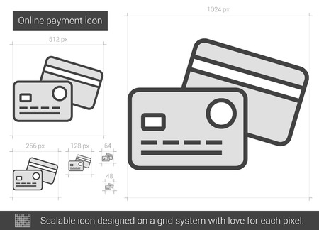 scalable: Online payment vector line icon isolated on white background. Online payment line icon for infographic, website or app. Scalable icon designed on a grid system.