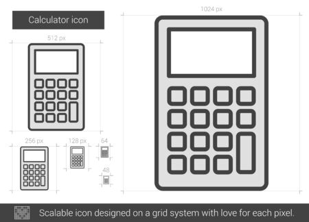 scalable: Calculator vector line icon isolated on white background. Calculator line icon for infographic, website or app. Scalable icon designed on a grid system.