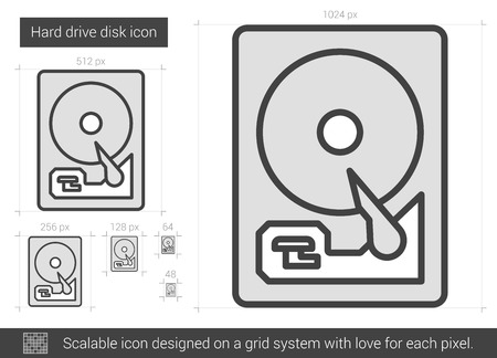 winchester: Hard drive disk vector line icon isolated on white background. Hard drive disk line icon for infographic, website or app. Scalable icon designed on a grid system.
