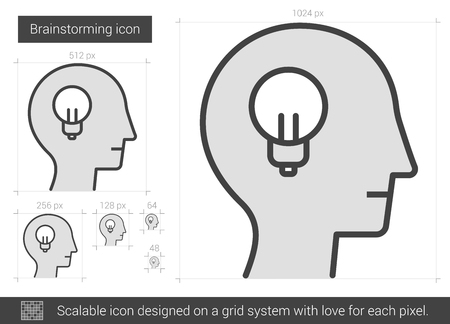 scalable: Brainstorming vector line icon isolated on white background. Brainstorming line icon for infographic, website or app. Scalable icon designed on a grid system.