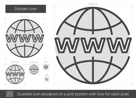 scalable: Domain vector line icon isolated on white background. Domain line icon for infographic, website or app. Scalable icon designed on a grid system.