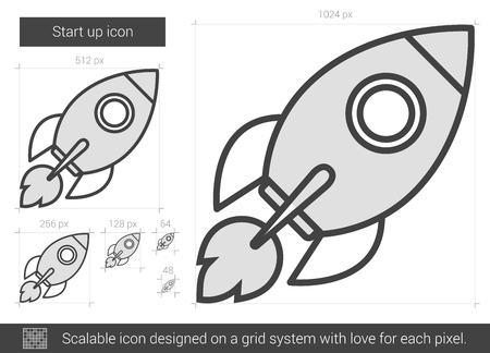 scalable: Start up vector line icon isolated on white background. Start up line icon for infographic, website or app. Scalable icon designed on a grid system. Illustration