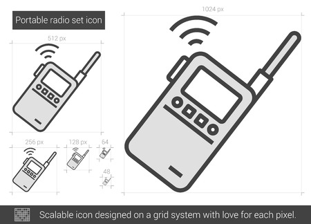 portable radio: Portable radio set vector line icon isolated on white background. Portable radio set line icon for infographic, website or app. Scalable icon designed on a grid system.