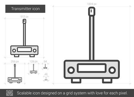 transmitter: Transmitter vector line icon isolated on white background. Transmitter line icon for infographic, website or app. Scalable icon designed on a grid system.