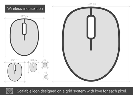 scalable: Wireless mouse vector line icon isolated on white background. Wireless mouse line icon for infographic, website or app. Scalable icon designed on a grid system. Illustration