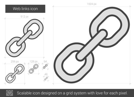 scalable: Web links vector line icon isolated on white background. Web links line icon for infographic, website or app. Scalable icon designed on a grid system.