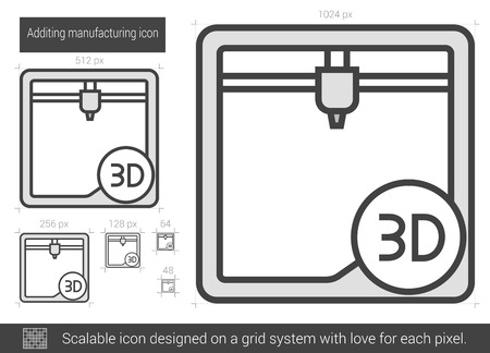 scalable: Additing manufacturing vector line icon isolated on white background. Additing manufacturing line icon for infographic, website or app. Scalable icon designed on a grid system.