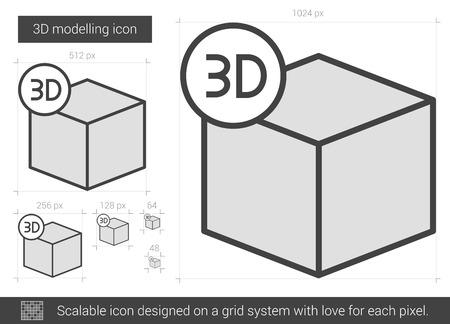 perspectiva lineal: Tres D icono de la línea de modelos del vector aislado en el fondo blanco. icono de la línea D de modelado en tres de infografía, sitio web o aplicación. icono escalable diseñada en un sistema de red.