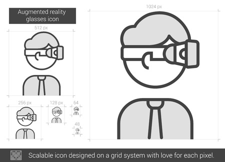 Augmented reality glasses vector line icon isolated on white background. Augmented reality glasses line icon for infographic, website or app. Scalable icon designed on a grid system.