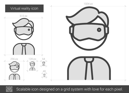 Virtual reality vector line icon isolated on white background. Virtual reality line icon for infographic, website or app. Scalable icon designed on a grid system. Ilustração