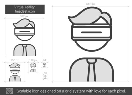 scalable: Virtual reality headset vector line icon isolated on white background. Virtual reality headset line icon for infographic, website or app. Scalable icon designed on a grid system. Illustration