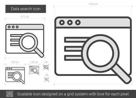 scalable: Data search vector line icon isolated on white background. Data search line icon for infographic, website or app. Scalable icon designed on a grid system.