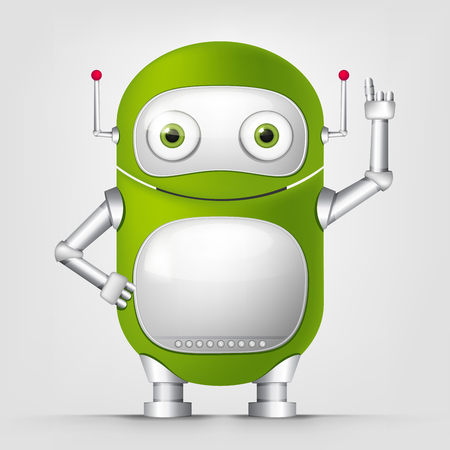 Cartoon Character green robot on Grey Gradient Background. Stock Photo