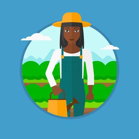 緑の茂みで農業分野のバック グラウンドの水まき缶を保持しているアフリカ系アメリカ人の農夫。キャベツを水遣りの女性。ベクター背景に分離さ