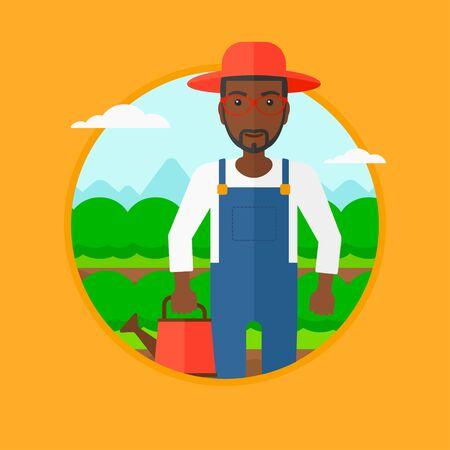 緑の茂みで農業分野のバック グラウンドの水まき缶を保持しているアフリカ系アメリカ人の農夫。キャベツを水遣りの男。ベクター背景に分離され
