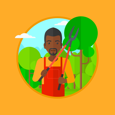 branch cut: An african-american man working in the garden with pruner. A gardener is going to trim branches of a tree. Gardener pruning a tree. Vector flat design illustration in the circle isolated on background