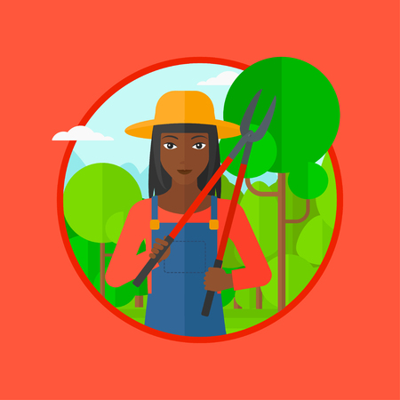 tree trimming: African-american woman working in the garden with pruner. A gardener is going to trim branches of a tree. Gardener pruning a tree. Vector flat design illustration in the circle isolated on background