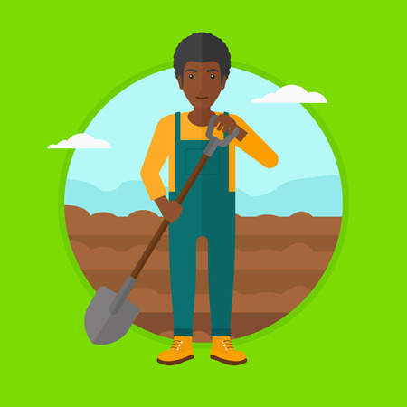 plowing: African-american man working on field with shovel. Farmer standing with shovel on a background of plowed field. Man plowing field. Vector flat design illustration in the circle isolated on background.