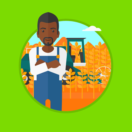 harvesting: An african-american young satisfied farmer standing on the background of combine working in wheat field. Combine harvesting wheat. Vector flat design illustration in the circle isolated on background.