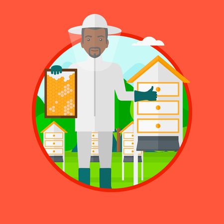 beeswax: An african-american young man in protective suit holding a framework in hand and showing thumb up while standing at apiary. Vector flat design illustration in the circle isolated on background. Illustration